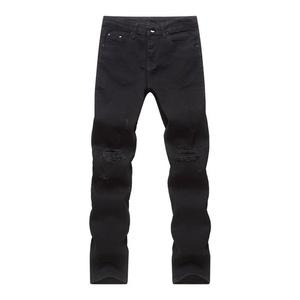 Mens Punk Hipster Frayed Ripped Straight Denim Jeans Pants Trousers Street Wear