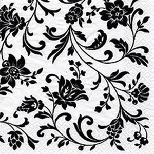 Arabesque/Damask White with Black Print Party Lunch Napkins x 20 by Napkins - Patterned
