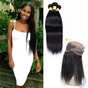Top Hair 360 Lace Frontal Band Closure Straight Wave With Peruvian Virgin Human Hair Bundles 22.5
