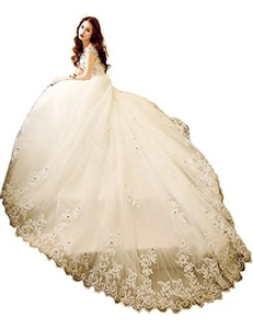 Mulanbridal Charming Plus Size Ball Gown Wedding Dress Beads Vintage Bridal Gowns Ivory 2
