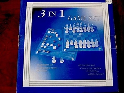 Glass 3 in 1 Game Set Chess/Checkers/Backgammon by Glass Game Set