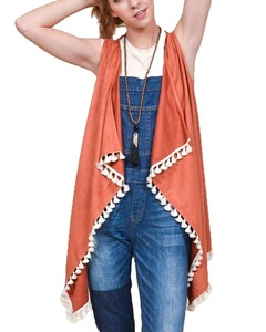 By Together L1050 Rust Suede Pom Pom Fringe Vest (small)
