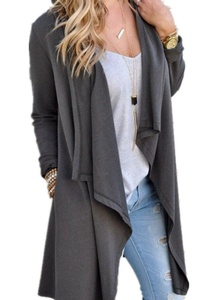 Poulax Women's Solid Knitted Open Front Long Trench Coat Cardigan, Size S=US 4-6, Gray