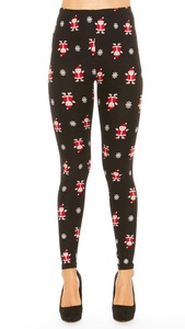 Just One Women's Winter Christmas Plus Size Leggings (Santa & Snowflake, 2X)