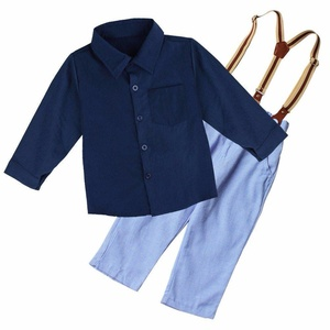 FEESHOW Baby Boys Kids Gentleman T-shirt with Suspender Pants Outfit Set Blue 9-12 Months