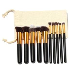 Mostsola 10 Pcs Cosmetic Makeup Brush Set with Free Gift Draw String Makeup Brush Bag (Golden)