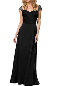 MILANO BRIDE Modest Prom Party Dress A-line Sweetheart Sleeves Pleat Chiffon-17W-Black