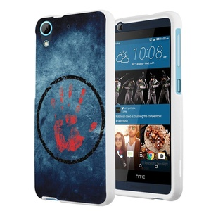 HTC Desire 626s Case, HTC Desire 626 Case, Capsule-Case Slim Fit Snap-on White Hard Case for HTC Desire 626s / HTC Desire 626 - (Hand Print)