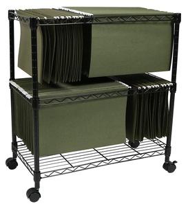 Apollo Hardware 2-Tier File Cart / Mobile File Cart (Black)
