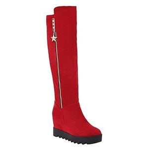 Show Shine Women's Zip Hidden Wedge Heel Platform Knee High Boots (9, black)