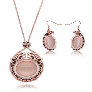Drip diamond Leopard head Crystal Opal Jewelry Set Wedding Accessories Wedding jewelry Earrings + necklace