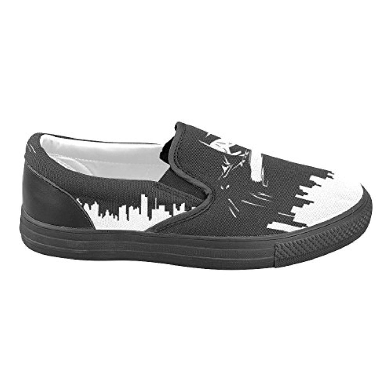 H-MOE Art Batman Women's Slip-on Canvas Shoes Breathable Casual Flats,Black
