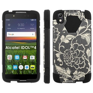 Alcatel One Touch IDOL 4 [Nitro 4/49] Phone Cover, Flower Pattern - Black Hexo Hybrid Armor Phone Case for Alcatel One Touch IDOL 4 [Nitro 4/49]