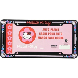 Hello Kitty Head Face with Red Bow and Pink Heart Sanrio Glitter Auto Car Truck SUV Vehicle Universal-fit License Plate Frame - Plastic - SINGLE by LA Auto Gear
