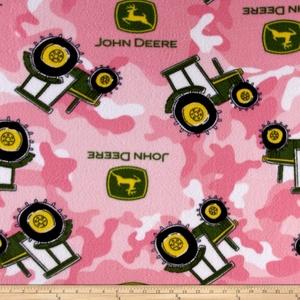 John Deere Fleece Tractor Camo Pink Fabric By The Yard