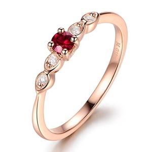 14K Rose Gold Wedding Ring,Round Cut Ruby Engagement Ring,Diamond Promise Band,Wedding Ring,Reco Set