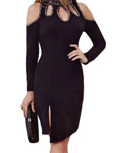 DH-MS Dress Women's Black Funky Studded Cutout Cold Shoulder Dress S