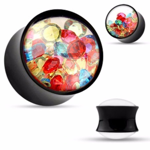 Colorful Crystals Filled Clear Face Black Acrylic WildKlass Saddle Plugs (Sold as a Pair)
