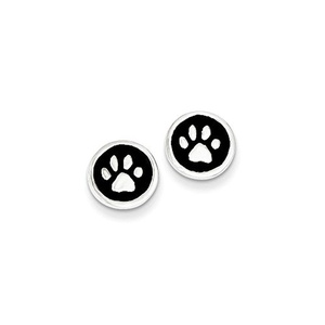 .925 Sterling Silver 9 MM Polished Enamel Paw Print Post Stud Earrings