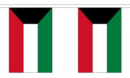 Kuwait Bunting 9M Metre Length With 30 Flags 9X6 100% Woven Polyester by Kuwait
