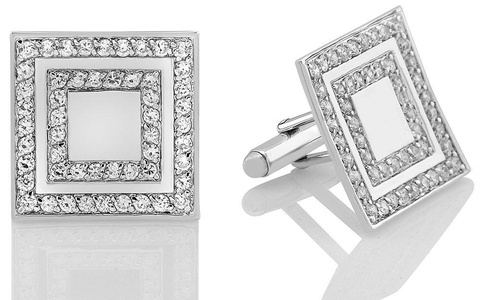Mens Sterling Silver .925 Original Design Cufflinks, Large Square with Channel set Round cut Cubic Zirconia (CZ) Stones, Rhodium Plated, One of a kind Design, Secure Solid Hinges, 1 inch square
