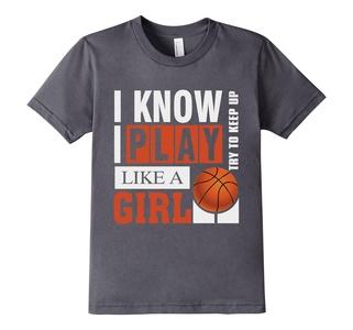 Kids I Know I Play Like A Girl Basketball T Shirt  4 Asphalt