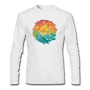 Rainbow cream for Men Printed Long Sleeve Cotton T-shirt