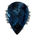 43.23Ct Natural London Blue Topaz And Diamond Ring In14K Solid White Gold