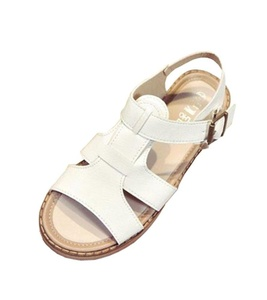CHFSO Women's Fashion Open Toe Buckle Sing Back Cross Strap Low Heel Gladiator Sandals White 8 B(M) US