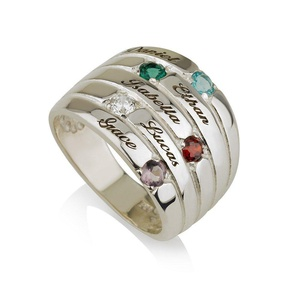 Mothers Ring Engraved Birthstone Ring Five Stone Ring -925 Sterling Silver - Personalized & Custom Made (8)