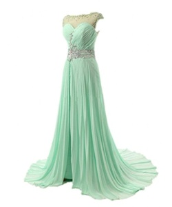 Winnie Bride Long Cap Sleeved Prom Party Dress Chiffon Beaded Evening Ball Gown-4-Light Green