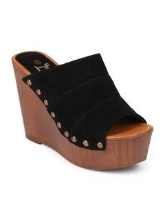 Betani EK32 Women Suede Peep Toe Studded Slide Wedge Clog - Black (Size: 5.5)