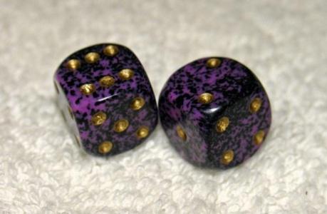 Mini Purple Speckled Dice Pair by NON-Label by NON-Label