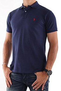 Polo Ralph Lauren Custom Fit Mesh Polo Shirt for Men navy M