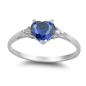 Petite Dainty Promise Ring Heart Simulated Blue Sapphire Round Cubic Zirconia Solid 925 Sterling Silver