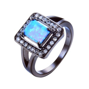 CHIC Blue Geometric Fire Opal Ring With Crystal Zircon Vintage Black Gold Wedding Rings Fashion Jewelry 8.0