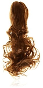 BiYa Hair Elements Thermatt Instant Clawclip Ponytail Hair Extensions Curly, Light Brown Number 8 18-inch/ 100g by BiYa Hair Elements