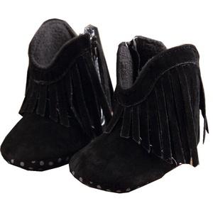 Inkach Toddler Infant Newborn Baby Girl Tassel Shoes Soft Sole Boots Prewalker (12, Black)