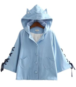 Season Show Womens Cute Hoodie Shawl Cape Hooded Wool blend Jacket Blue