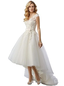 Ever-youth Women's Applique V-Neck Backless Bow Sash Hi-Lo Tulle Wedding Gown White US08
