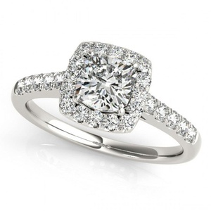 TVS-JEWELS White Platinum Plated 925 Sterling Silver Round Cut CZ Solitaire With Accents Wedding Ring (11.5)
