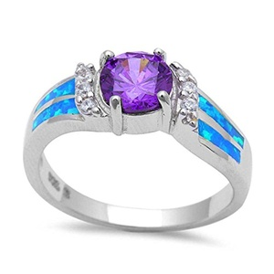 Accent Wedding Ring Round Simulated Amethyst Lab Created Blue Opal Round CZ 925 Sterling Silver