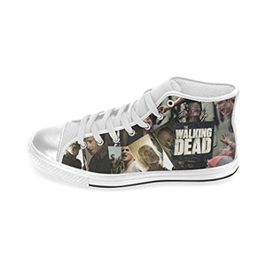 Aneozap Custom Walking Dead Women's High-top Lace-Up Canvas Shoes Sneakers Casual Flats,White