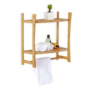 100% Bamboo Wall Mount Shelf with a Towel Bar