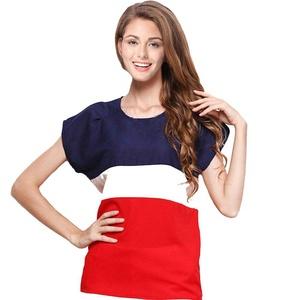 Zeokcan Womens Casual Short Sleeve Pacthwork Chiffon Blouse Top