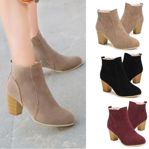 DEESEE(TM) Autumn Winter Boots With High Heels Boots Shoes Martin Boots Women Ankle (US 8, Khaki)