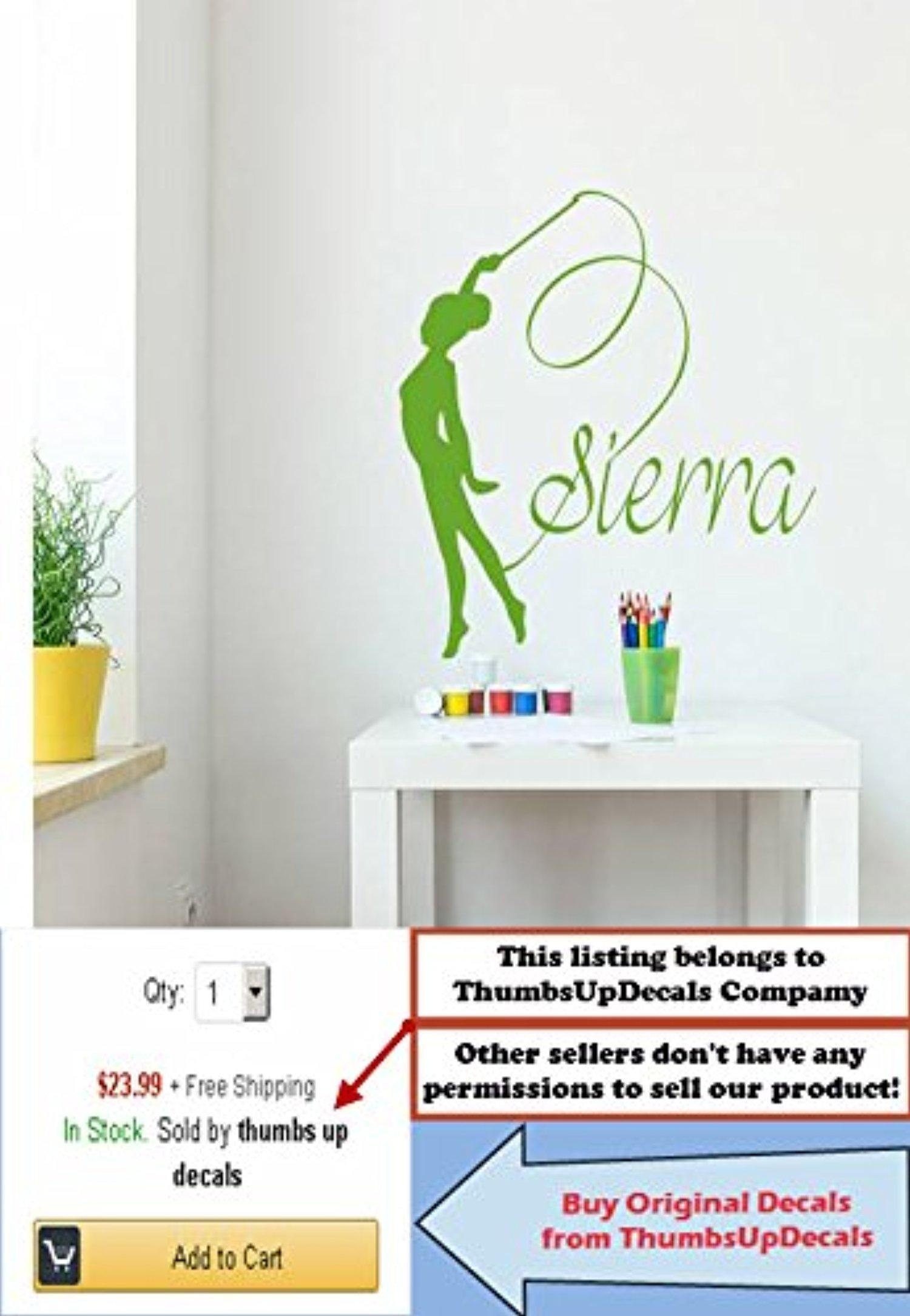 Name Wall Decal Gymnastics Personalized Decal Girl Name Vinyl Stickers Kids  Nursery Home Bedroom Decor Aa342