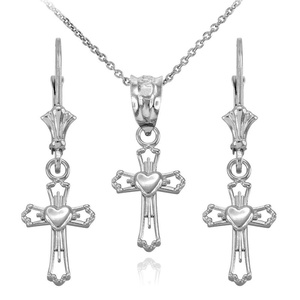Heart Cross Pendant Necklace and Earring Set in 925 Sterling Silver, 22
