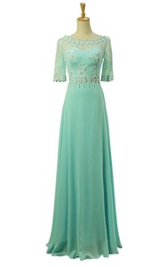 JoyVany Beaded Lace Mid Sleeves Bridesmaid Dresses Pearl Chiffon Long Party Gown Light Green Size 14