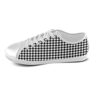 H-ome Art Houndstooth Men's Low-top Lace-Up Canvas Shoes Casual Sneakers ,White